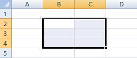 Диапазон ячеек в Excel